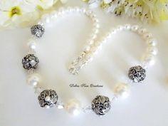 Swarovski Crystal Pearl Bridal Necklace by DebraAnnCreations