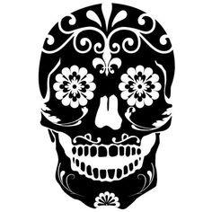 Black Sugar Skull Water Nail Decals ($1.99) ❤ liked on Polyvore