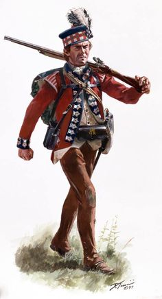 Don Troiani Historical Artist. American Revolution: A Highlander of the 42nd Regiment of Foot (Royal Highland Regiment , Black Watch), Grenadier Company , campaign dress in the South 1780. I did this one 17 years ago. The Grenadiers wore a white feather in their bonnets. Light Infantry and Grenadiers wore shoulder wings and the Light Infantry had red waist coats while the rest had white. Brown woolen overalls were worn on winter campaign.