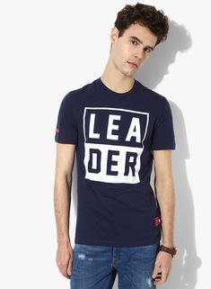 452069f891 Buy United Colors of Benetton Navy Blue Printed Slim Fit Round Neck T-Shirt  for