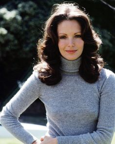 JACLYN SMITH CHARLIE'S ANGELS 24X36 POSTER BEAUTIFUL PORTRAIT GREY POLO NECK