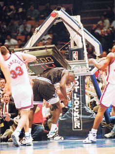 """Shaquille O'Neal """"shaq"""" well known for pulling down basketball stands"""