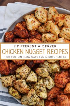 These seven air fryer chicken nuggets recipes are super easy to make, high protein, and perfect for meal prep. They go straight in the air fryer and take about 20-25 minutes from start to finish. Who said you couldn't have a high protein meal on the table in less than 30 minutes? Click here for the recipes! Air Fryer Oven Recipes, Air Frier Recipes, Air Fryer Dinner Recipes, Air Fryer Chicken Recipes, Easy Oven Recipes, Chicken Nugget Recipes, Healthy Recipes With Chicken, Healthy Fried Chicken, Healthy Chicken Nuggets