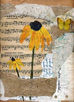 by Sorana Tarmu Mixed media - acrylics on a collage of handmade and upcycled papers and old sheet music.Mixed media - acrylics on a collage of handmade and upcycled papers and old sheet music. Paper Collage Art, Collage Art Mixed Media, Mixed Media Canvas, Music Collage, Collage Book, Mixed Media Journal, Painting Collage, Mixed Media Painting, Watercolor Painting