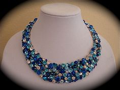Caribbean Blue Bridal Statement Necklace Blue by TheCrystalRose, bridal necklace, swarovski crystal