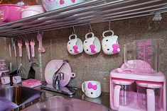 ImageFind images and videos about pink, kitchen and hello kitty on We Heart It - the app to get lost in what you love. Chat Hello Kitty, Hello Kitty Kitchen, Hello Kitty House, Hello Kitty Items, Hello Kitty Bathroom, Sanrio, Kawai Japan, Hello Kitty Merchandise, Hello Kitty Collection