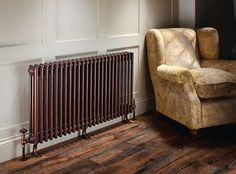 The Radiator Company - Ancona + Cast Feet (Mottled Copper with Antique Copper Buckingham TRV Valves)