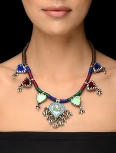 Red-Green Thread Vintage Silver Necklace