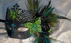 Glitter Black Peacock Mask.