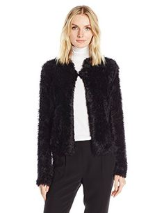Calvin Klein Womens Plus Size Furry Open Cardigan Black 1X * You can find out more details at the link of the image.