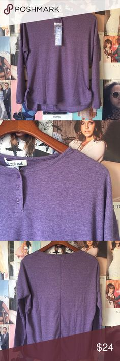Olive & Oak | purple henley Perfect with joggers for watching football. Also perfect under a sweater for that extra layer of warmth. From Urban Outfitters. Notched side seams. Three buttons. Extra button included. XS. NWT. Urban Outfitters Tops Tees - Long Sleeve