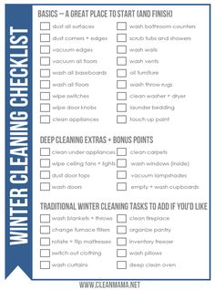 Add some deeper cleaning this winter with this FREE Winter Cleaning Checklist and printable via Clean Mama