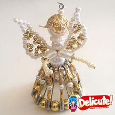These angels are made of beads and are entirely handmade. They're perfect as a placeholder, ornament, and a great gift idea.  www.delicute.com