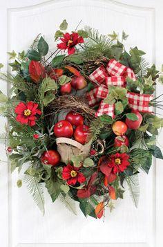 Summer Front Door Wreath! Country Wreath full of Red Apples!