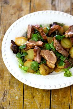 Salada de Pato com Batata Assada e Molho de Mostarda, Mel e Limão