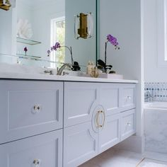 Gray floating vanity
