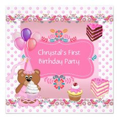 First 1st Birthday Party Girls Pink Cute Cupcake Announcements
