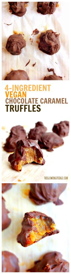 MAGICAL - Vegan Chocolate Caramel Truffles - only 4 ingredients and no bake with gooey date caramel, drenched in melted vegan chocolate #vegan #glutenfree