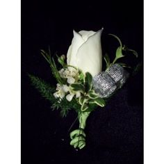 white rose boutineers | Classic white rose boutonniere with ribbon in Albuquerque NM, Shannon ...