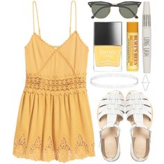 Untitled #86 by tamara-xox on Polyvore featuring мода, H&M, ASOS, Topshop, Ray-Ban, Butter London, Summer, yellow, HM and summeroutfit