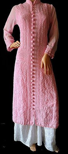 Hand Embroidered Designer Pink Georgette Chikankari Kurti is part of Kurta designs women - ISHIEQA's Hand Embroidered Designer Pink Georgette Chikankari Kurti Salwar Designs, Kurta Designs Women, Kurti Designs Party Wear, Pakistani Dresses Casual, Pakistani Dress Design, Kurti Pakistani, Kurti Designs Pakistani, Dress Neck Designs, Designs For Dresses