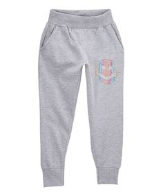 Another great find on #zulily! Heather Gray Burn Out Smiley Face-Accent Fleece Joggers - Girls #zulilyfinds