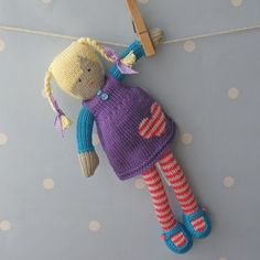 Livie is a beautiful little dolly waiting for someone special to give her a new home. As with all Boo-Biloo products, she is an original Boo-Biloo design and comes gift wrapped in luxury pale blue tissue paper tied with red gingham ribbon. She would like someone to give her lots of hugs, equally (for very small children) she is just as happy sitting on a bedroom shelf watching over them untill they are a bit older. She is hand knitted using 100% cotton yarn and stuffed using approved...