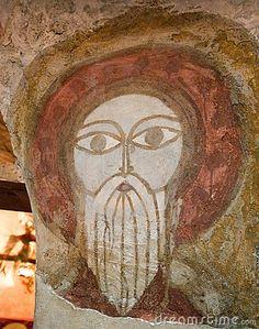 Old Coptic Fresco  St. Paul face in Coptic Christian monastery, St. Paul cloister, Egypt