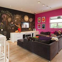 Contemporary Design, Chalk board walk paint, in living room.