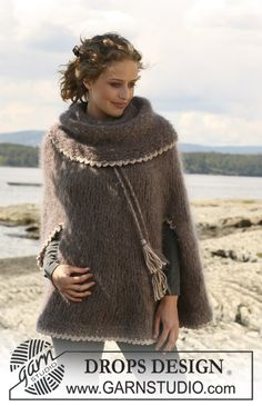"""Knitted DROPS poncho with large collar/hood in """"Vienna"""" and crochet borders in """"Silke Alpaca"""". Size S - XXXL. ~ DROPS Design"""