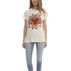MadeWorn Rolling Stones 1978 Tee ($160) ❤ liked on Polyvore featuring tops, t-shirts, bestsellers, women, distressed t shirt, ripped t shirt, distressed shirt, white shirt and t shirts
