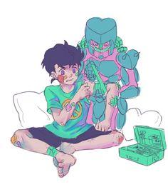 i like the idea of crazy diamond giving josuke first aid since he cant heal him - credit to kibsart.tumblr.com