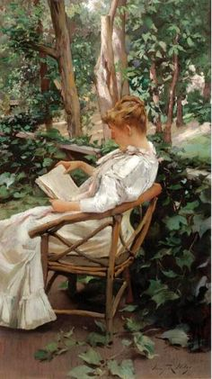 Reading in the garden; Irving Ramsay Wiles