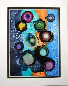Painting, Abstract Ink Art 8 x 10 mounted Evening Hues - Free UK P&P £18.95