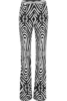 DIANE VON FURSTENBERG Elena zebra-print silk-jersey wide-leg pants