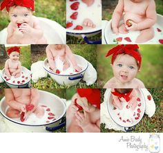 Strawberry bath, 6 month photography, 6 month photo shoot, baby girl photography, milk bath photography, Amie Brady Photography, Tampa baby photography, www.facebook.com/amiebradyphotography