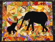 Crazy Quilt. African motif. Elephant. The idea of a silhouette on a crazy quilt is really great!  It could be so many things ... a ferris wheel, any animal (bird, fish), a religious motif, a vehicle, a tree or other plant, or wedding bells, etc., etc., etc.  Really cool.