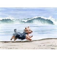 "yorkies on the beach | Yorkshire Terrier at the Beach"" Dog Art Print Signed by Artist DJ ..."