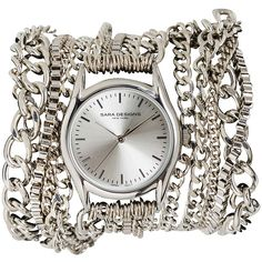 Sara Designs All Chain Wrap Watch (18.370 RUB) ❤ liked on Polyvore featuring jewelry, watches, accessories, bracelets, silver, wrap bracelet watch, silver bracelet watches, wrap watch bracelet, wrap watch and silver watches