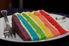 My sons would love this rainbow cake!