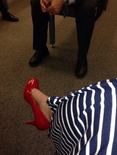 Navy blue and white striped dress with red shoes!