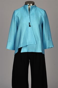 cadbcafdc8863 I.C. Collection - Single Button Ribbed Jacket - Blue