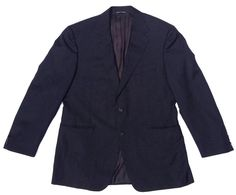 NEW $650 Canali Narrow Stripe Pure New Wool Suit Coat, Dark Blue - Size 37R #Canali #TwoButton