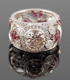 Diamond Rings : Platinum Diamond and Ruby Ring