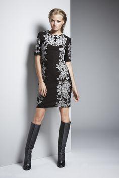 Walnut and Ivory Rose Print Ponte Dress #WbyWorth #Fall2014 #Printdress