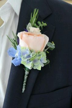 Peach rose and Blue/green hydrangea buttonhole with decorative wire stem