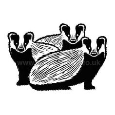 Badgers Lino Print lovely simplicity, especially the breaks in the foreheads