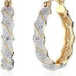 Yellow Gold-Plated Two-Tone Diamond Accent Twisted Hoop Earrings. Two-tone hoop earrings featuring sparkling stones encased in silver-tone or rose gold-tone twists. Hinge backing with notched post. Garnet Earrings, Gold Drop Earrings, Women's Earrings, Diamond Earrings, Diamond Jewellery, Charm Jewelry, Fine Jewelry, Women Jewelry, Boho Jewelry