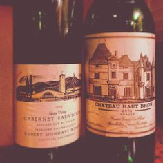 A brace of 1976s: Robert Mondavi WineryReserve and Haut Brion: both evolving beautifully. Gorgeous, classic old reds.