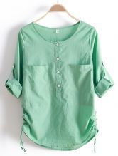 Green+Round+Neck+Long+Sleeve+Loose+Pockets+Cotton+Shirt+$30.32